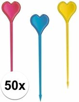 50x hartjes prikkers in verschillende kleuren - kunststof cocktailprikkers