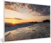 Foto in lijst - Zonsondergang bij het Turkse natuurfenomeen Pamukkale fotolijst wit 60x40 cm - Poster in lijst (Wanddecoratie woonkamer / slaapkamer)