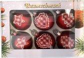 6 rode kerstballen met stoffen opdruk 4 cm