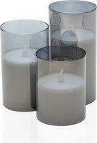 Pauleen Classy Smokey Candle - Wax LED Kaarsen in Glas - Set van 3