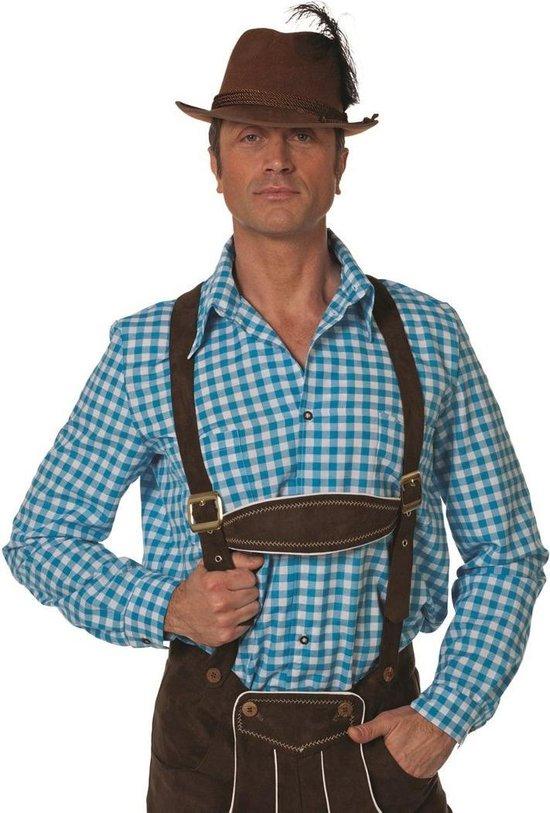 Oktoberfest Tiroler blouse aqua man Maat 48