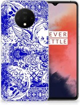 Silicone Back Case OnePlus 7T Angel Skull Blue