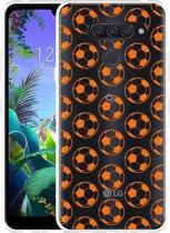 LG Q60 Hoesje Orange Soccer Balls