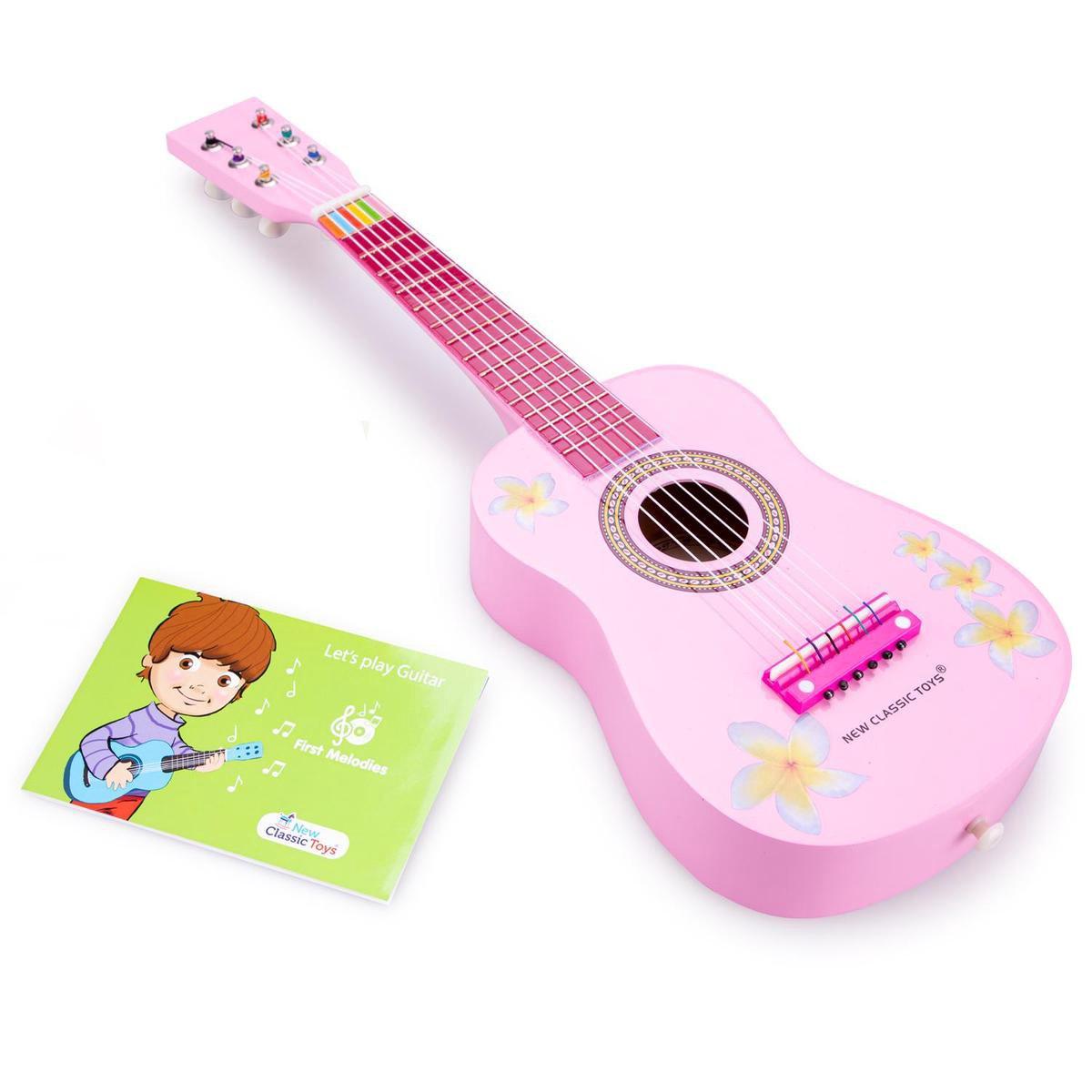 New Classic Toys Houten Speelgoed Gitaar met Muziekboekje - Inclusief Draagriem - Roze met Bloemen