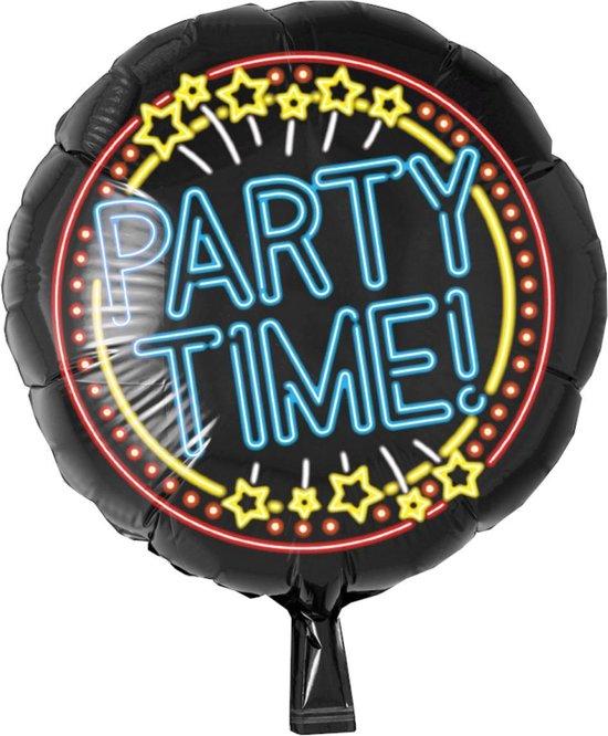 Folieballon - Party time - Neon - Zonder vulling