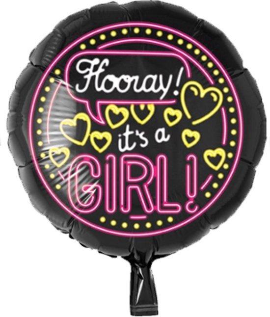 Folieballon - It's a girl - Neon - Zonder vulling