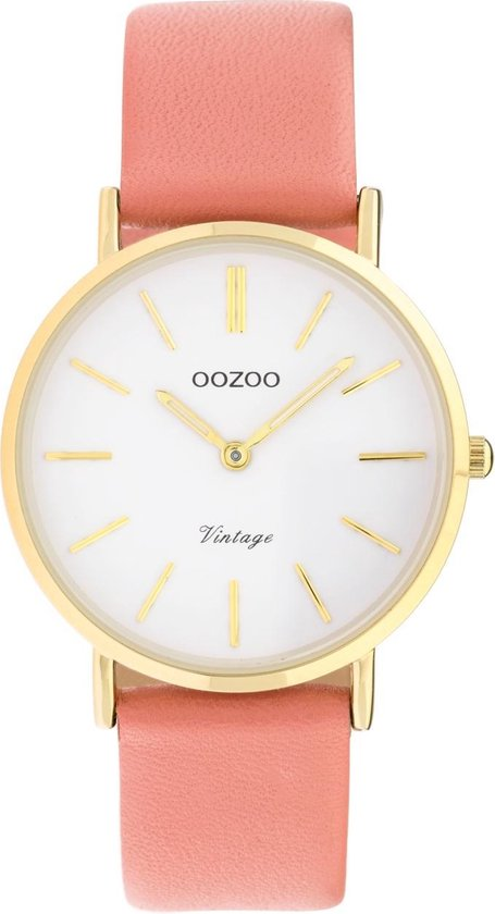 OOZOO Vintage Oranje/Wit horloge (32 mm) – Oranje