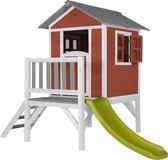 AXI Beach Lodge XL Speelhuis Scandinavisch rood - Limoen groene Glijbaan
