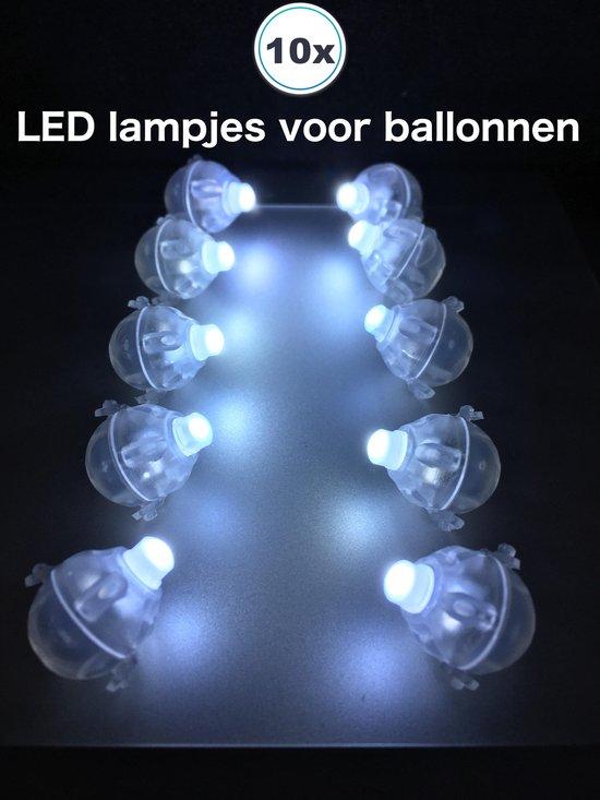 10 x Witte LED lampjes - lichtjes (48 uur) met batterij voor ballonnen verlichting lights LED Ballon Candlebags