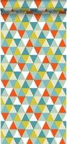 ESTAhome behang driehoekjes oranje, mintgroen en olijfgroen - 128708