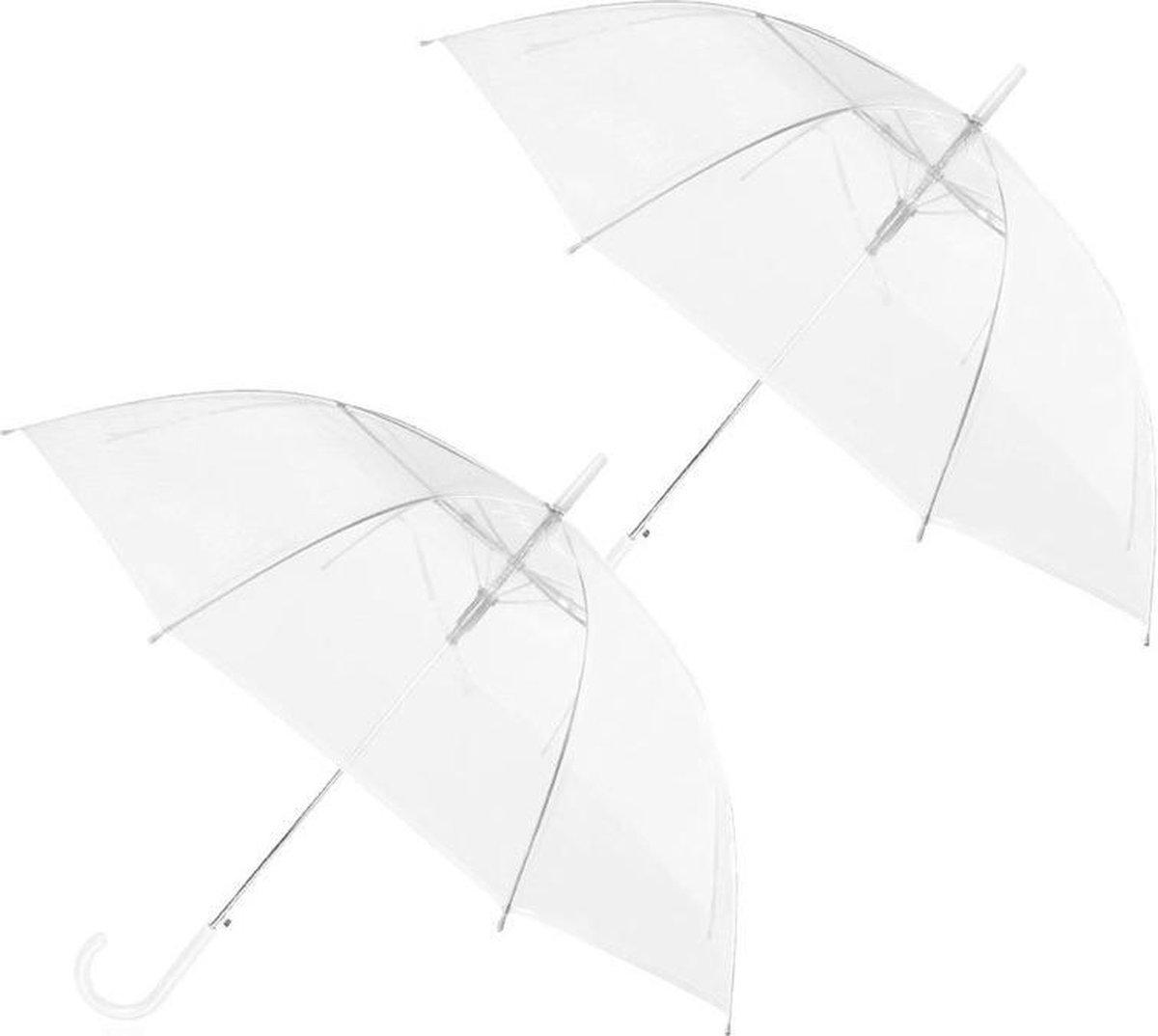 2x Transparant plastic paraplu 92 cm - doorzichtige paraplu