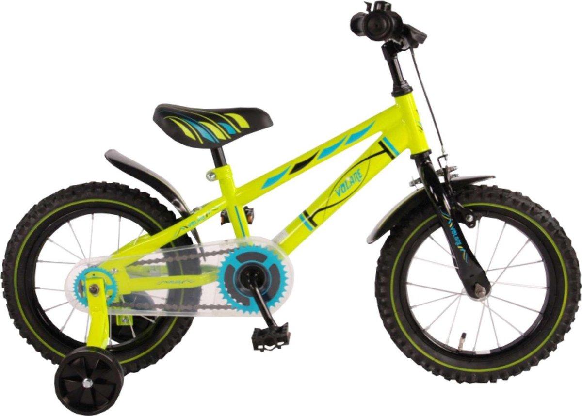 Volare Electric Green Kinderfiets - Jongens - 14 inch - Neon Groen - 95% afgemonteerd