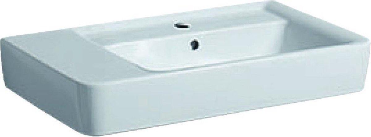 Geberit Renova Plan wastafel 75 cm 1 kraangat met overloop aflegvlak links, wit