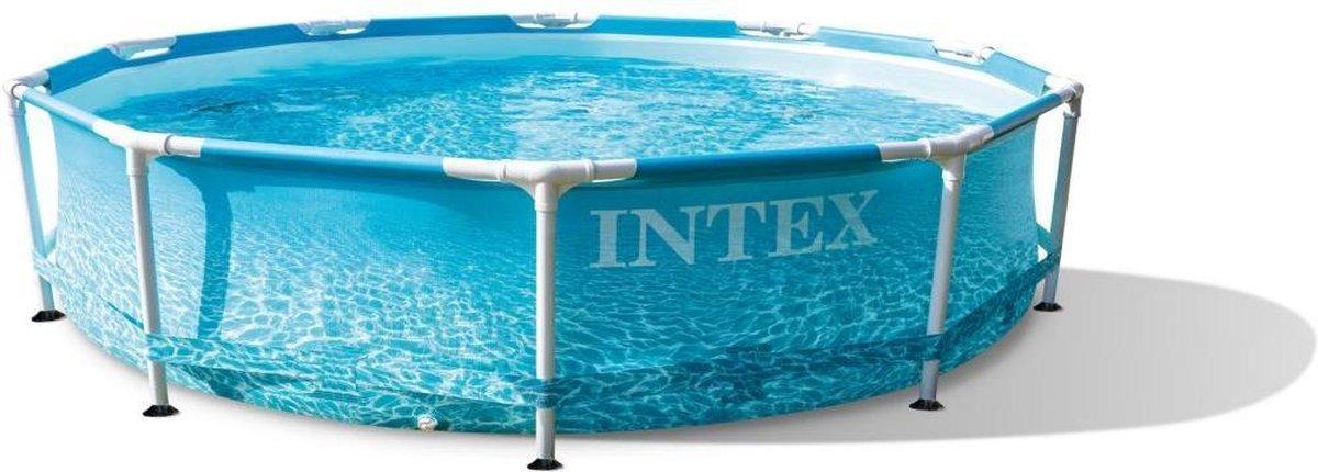 Intex 28208GN Beachside Metal Frame Zwembad + Filterpomp 305x76 cm Blauw