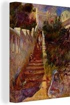 Canvas Schilderijen - Trap in Algiers - Schilderij van Pierre-Auguste Renoir - 60x80 cm - Wanddecoratie