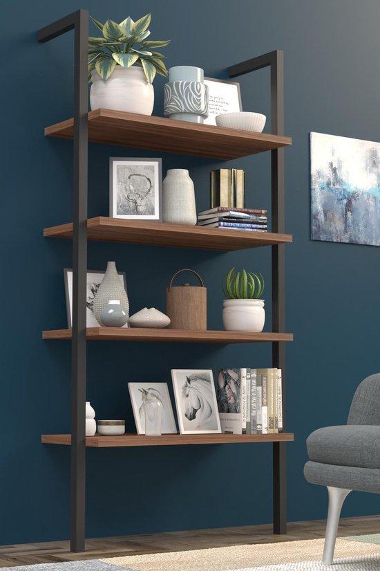 Wood House Waterfall Wandkast Industrieel Hout en Metaal - Industriële Boekenkast - Open Vakkenkast - Wandrek - 4 Planken - Design Meubel - Zwart en Bruin - 60x35x150