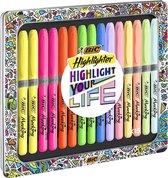 BIC Highlighter Grip Collection Box - Assortiment markeerstiften met levendige kleuren en pastelkleuren,  metalen geschenkdoos met 15 stuks