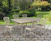 1 groene tuintafel 115x115 in gegoten aluminium - Collectie Savoy