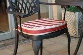 1 stoelkussen rood/wit gestreept 40x44x5 cm Collectie Ashbury