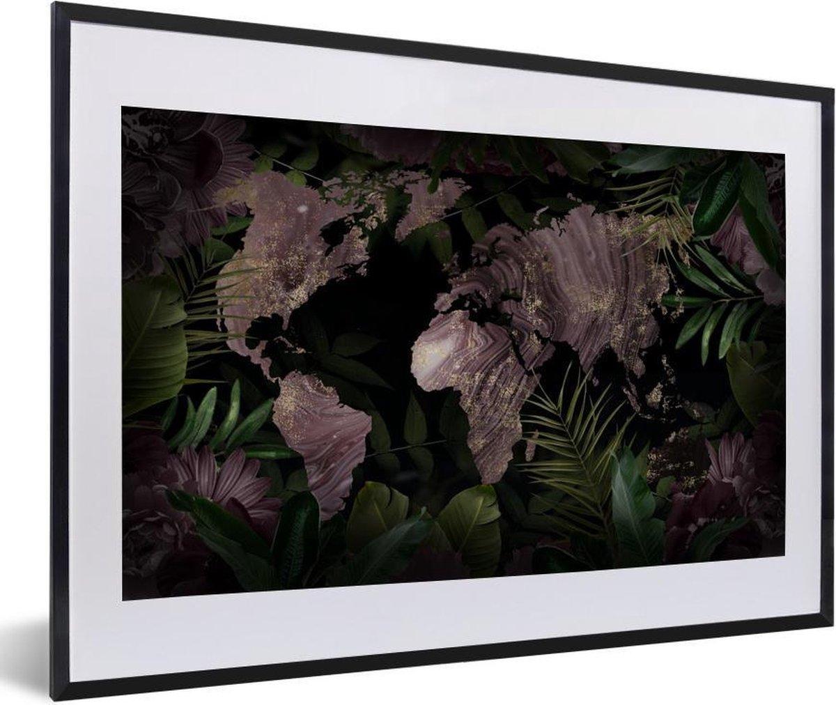 Poster met lijst Wereldkaart - Luxe - Planten - 60x40 cm