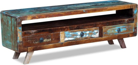 vidaXL Tv-meubel met 3 lades massief gerecycled hout - vidaXL