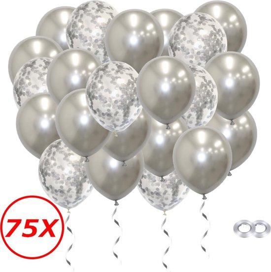 Verjaardag Versiering Helium Ballonnen Feest Versiering Decoratie Confetti Ballon Bruiloft Zilver - 75 Stuks