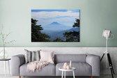 Uitzicht vanaf een vulkaan op San Salvador Canvas 180x120 cm - Foto print op Canvas schilderij (Wanddecoratie woonkamer / slaapkamer) XXL / Groot formaat!