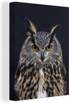 Oehoe portret canvas 30x40 cm - klein - Foto print op Canvas schilderij (Wanddecoratie woonkamer / slaapkamer) / Wilde dieren Canvas Schilderijen