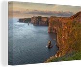 Ierse Kliffen van Moher in Europa Canvas 120x80 cm - Foto print op Canvas schilderij (Wanddecoratie woonkamer / slaapkamer)