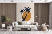 Behang - Fotobehang - Palmboom - Zon - Pastel - Breedte 145 cm x hoogte 220 cm