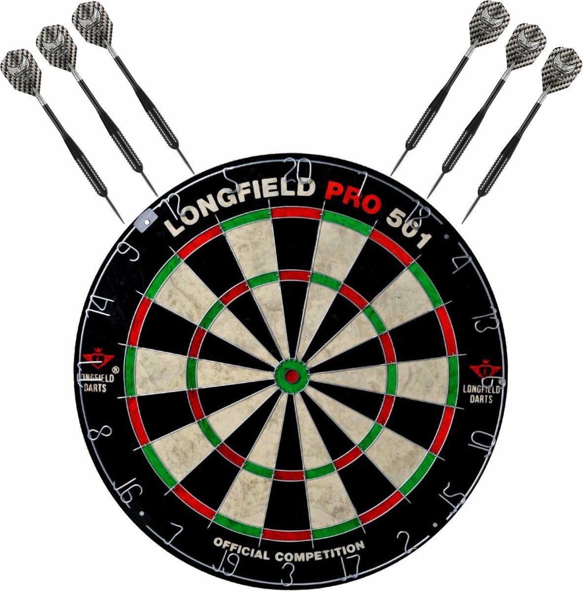 Dartbord set compleet van diameter 45.5 cm met 6x Black Arrow dartpijlen van 21 gram - Sporten darts