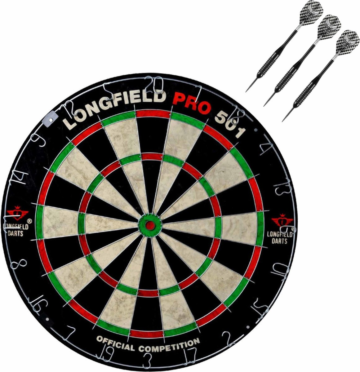 Dartbord set compleet van diameter 45.5 cm met 3x Black Arrow dartpijlen van 25 gram - Sporten darts