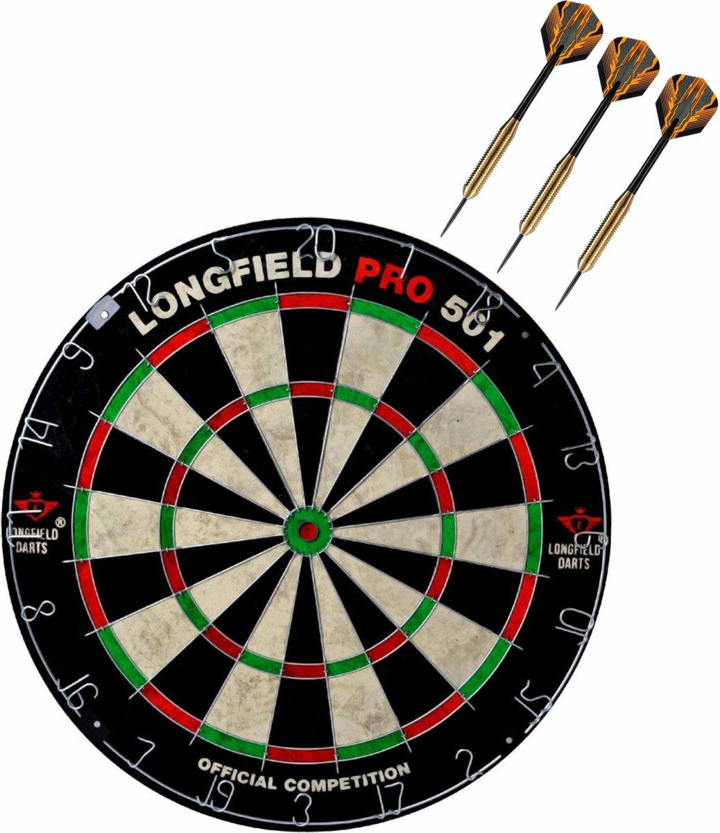 Dartbord set compleet van diameter 45.5 cm met 3x Club Brass dartpijlen van 22 gram - Professioneel darten pakket