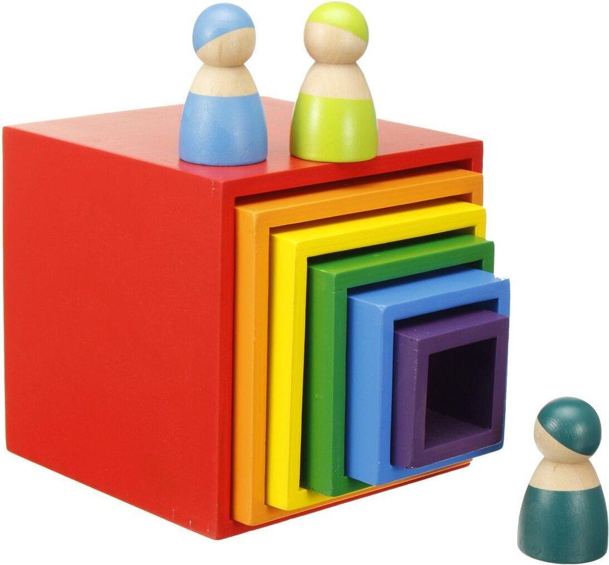 Regenboogkleuren blokken speelgoed hout kinderen