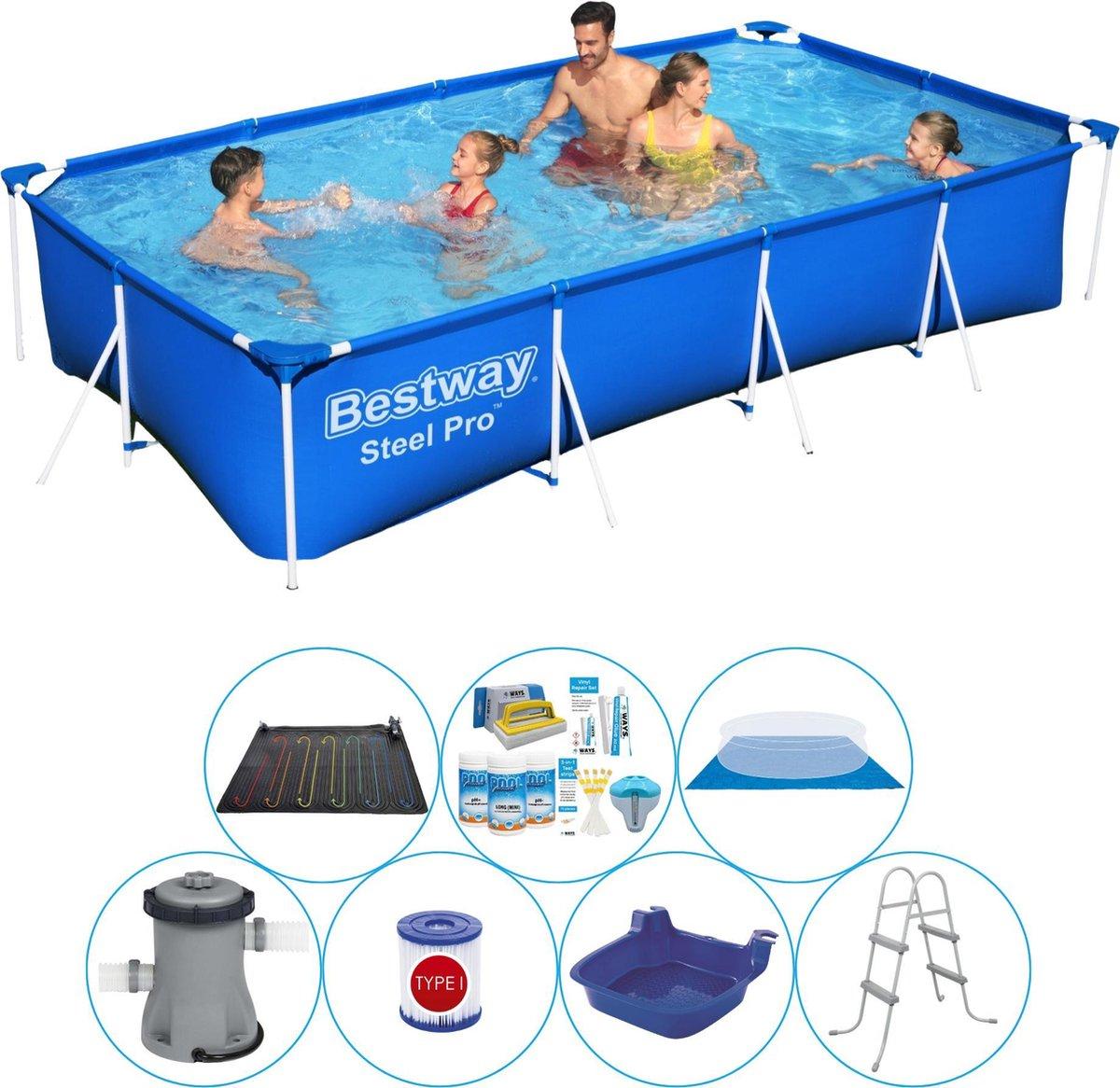 Zwembad Inclusief Accessoires - 8-delig - Bestway Steel Pro Rechthoekig 400x211x81 cm