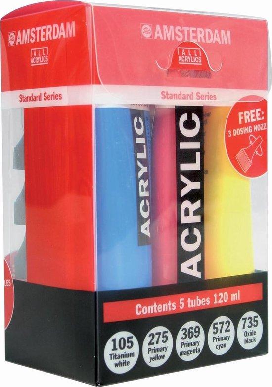 Amsterdam Standard acrylverf 5 tubes 120ml met gratis doseertuiten - Amsterdam