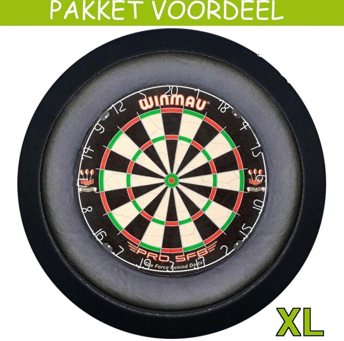 Dartbord met Verlichting Voordeelpakket (Zwart) + Pro SFB + Lena DeLuxe XL