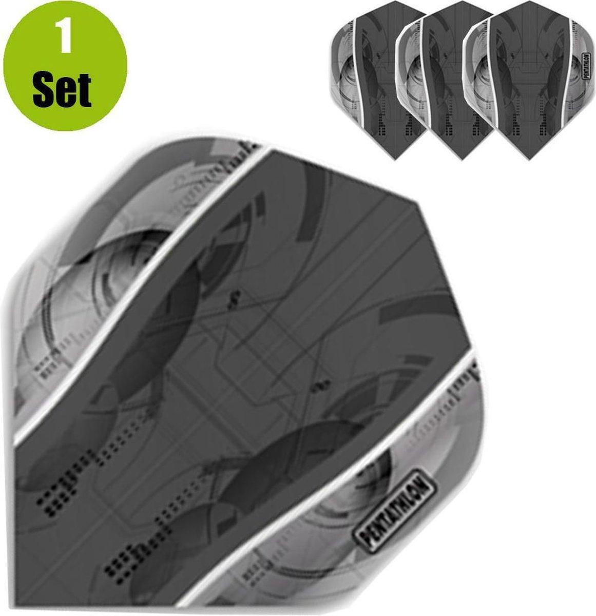 Pentathlon Silver Edge Dartflights - Zwart- ()