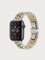 Luxe Metalen Armband Voor Apple Watch Series 1/2/3/4/5/6/SE 42/44 mm Horloge Bandje - iWatch Schakel Polsband Strap RVS - Stainless Steel Watch Band - Zilver & Goud