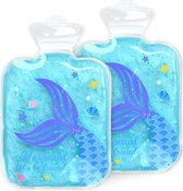 Navaris gel pack 2 stuks - Hot cold pack voor warm en koud gebruik - Koelcompres voor kinderen met zeemeermin - Voor eerste hulp bij ongelukjes