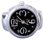 Ring horloge - rekbaar - zilverkleurig - zwart - 2 cm dial - one size