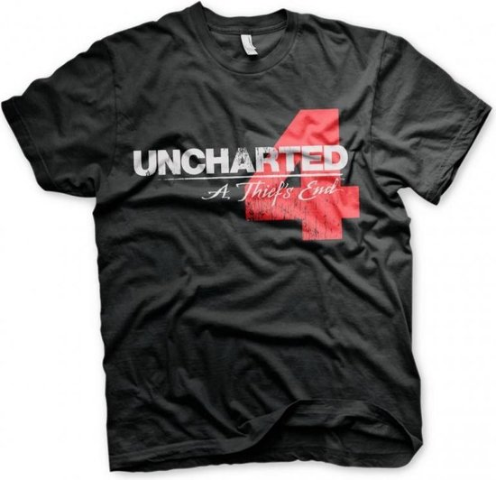 UNCHARTED 4 - T-Shirt Distressed Logo - Black (XXL)