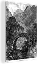 Een illustratie van het landschap van het Welshe Snowdonia canvas 90x140 cm - Foto print op Canvas schilderij (Wanddecoratie woonkamer / slaapkamer)