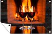 Twee glazen rode wijn bij een open haard tuinposter 120x80 cm - Tuindoek / Buitencanvas / Schilderijen voor buiten (tuin decoratie)