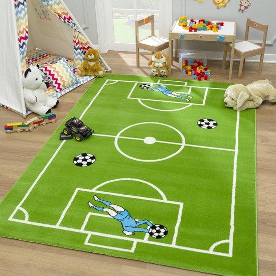 Bambino Voetbal Kinderkamer Vloerkleed Groen Laagpolig - 120x170 CM