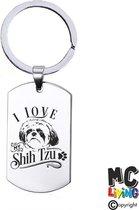 Sleutelhanger RVS - I Love My Shih Tzu