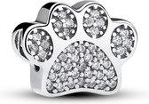 Zilveren bedel hondenpoot met zirkonia