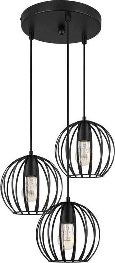 LIFA LIVING Industriële Hanglamp | 3-lichtse Plafondlamp | Zwarte Hanglampen | Moderne Metalen Verlichting | Ronde Hanglamp voor Woonkamer | Slaapkamer | Keuken | E27 | Ø20 cm