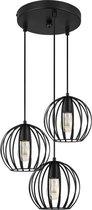 LIFA LIVING Industriële Hanglamp - 3 lichts - 20cm - E27 - Zwart