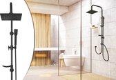 LIFA LIVING Compleet Douchesysteem |  RVS Doucheset |  Mat Zwarte Hoofddouche en Handdouche |  Vierkante Regendouche voor Badkamer |  Verstelbaar |  96 cm